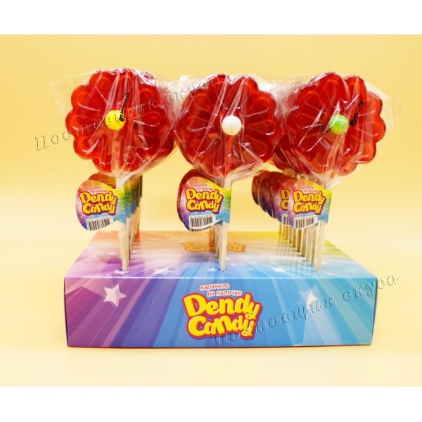 Леденцовая карамель на палочке Ромашка с жевачкой Dendy Candy